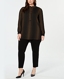 Anne Klein Plus Size Printed High-Low Tunic Top