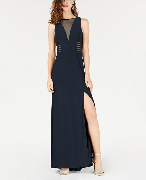 2b653c2dfdb Morgan   Company Juniors  Sleeveless Illusion A-Line Dress   Reviews ...