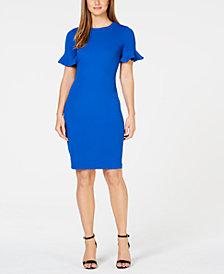 Calvin Klein Petite Petal-Sleeve Sheath Dress