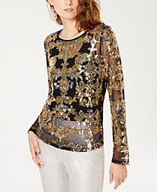 I.N.C. Sequined Sheer Mesh Top, Created for Macy's
