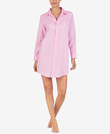 Lauren Ralph Lauren Printed Cotton Collared Sleepshirt