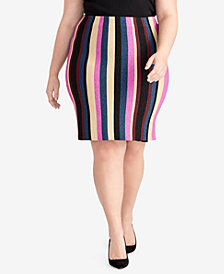 RACHEL Rachel Roy Trendy Plus Size Veda Striped Skirt