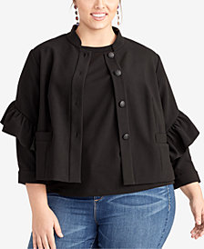 RACHEL Rachel Roy Plus Size Ruffle-Sleeve Jacket, Created for Macy's