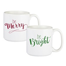 Cathys Concepts Merry and Bright Large Coffee Mugs, Set of 2