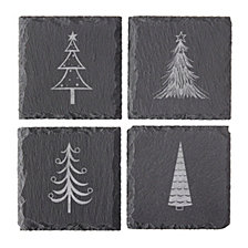 Cathys Concepts Holiday Trees Slate Coasters, Set of 4