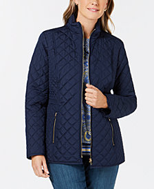 Charter Club Petite Quilted Zip-Up Jacket, Created for Macy's