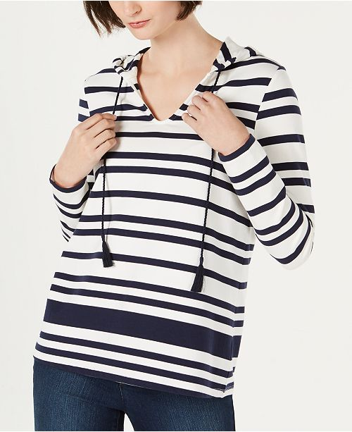 Charter Club Petite Striped Hoodie Top, Created for Macy's