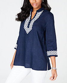 Charter Club Embroidered Tunic, Created for Macy's