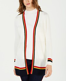 Charter Club Varsity-Stripe Cardigan Sweater, Created for Macy's