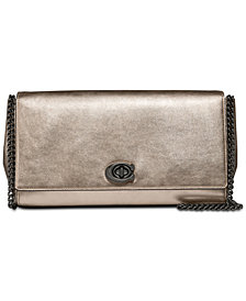 COACH Alexa Metallic Turnlock Clutch in Smooth Leather