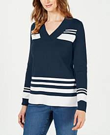 Charter Club Striped V-Neck Sweater, Created for Macy's
