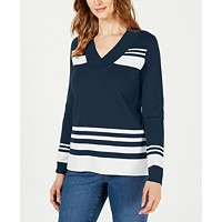Macys deals on Charter Club Womens Striped V-Neck Sweater