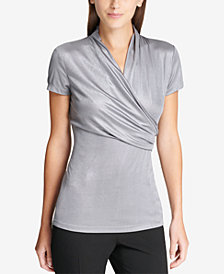 DKNY Matte Metallic Side-Ruched Top, Created for Macy's