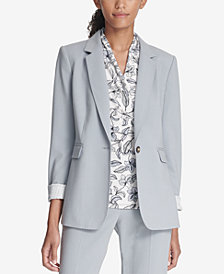 DKNY One-Button Jacket With Striped Cuffs, Created for Macy's
