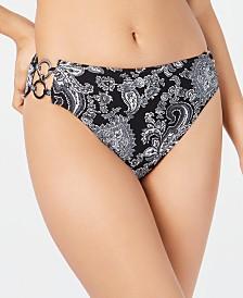 MICHAEL Michael Kors Printed Side-Ring Bikini Bottoms