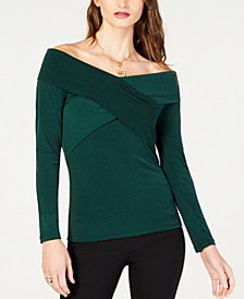 MICHAEL Michael Kors Petite Cross-Front Off-The-Shoulder Top