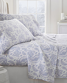 Home Collection Premium Paisley Pattern 4 Piece Flannel Bed Sheet Set