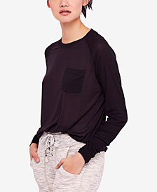 Free People Ruched-Sleeve Pocket T-Shirt