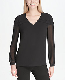 Calvin Klein Pleat-Detail Illusion-Sleeve Top