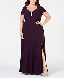 Plus Size Rhinestone-Detail Gown