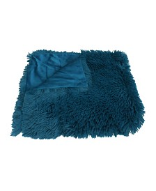 "Chubby Faux Fur Reversed To Micromink Decorative Throw, 50"" X 60"""