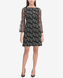 Tommy Hilfiger Bell-Sleeve Embroidered Dress