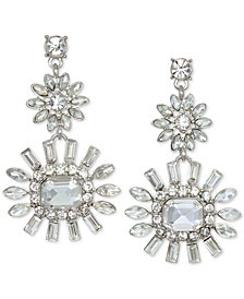 Jewel Badgley Mischka Silver-Tone Crystal Flower Drop Earrings