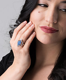 Carolyn Pollack Carved Blue Jade and White Topaz Ring