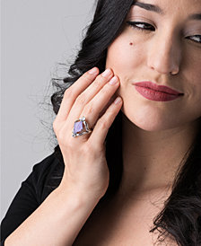 Carolyn Pollack Carved Purple Jade and White Topaz Ring