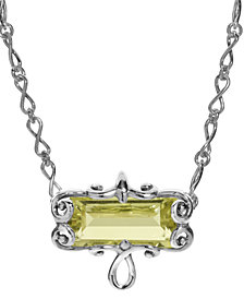 Carolyn Pollack Lemon Quartz Faceted Rectangle Necklace in Sterling Silver