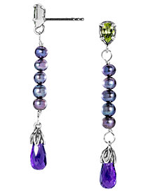 Carolyn Pollack Amethyst, Peridot and Pearl Earrings in Sterling Silver