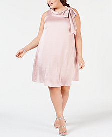 Robbie Bee Plus Size Satin Trapeze Dress