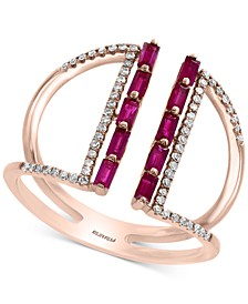EFFY® Ruby (1/2 ct. t.w.) & Diamond (1/5 ct. t.w.) Statement Ring in 14k Rose Gold