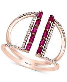 EFFY® Ruby (1/2 ct. t.w.) & Diamond (1/5 ct. t.w.) Statement Ring in 14k Rose Gold
