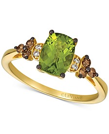 Green Apple® Peridot (1-1/2 ct. t.w.) & Vanilla and Chocolate Diamond (1/6 ct. t.w.) Ring in 14k Rose Gold (Also available in Deep Sea Blue Topaz)