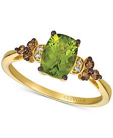 Le Vian® Green Apple Peridot (1-1/6 ct. t.w.) & Chocolate and Vanilla Diamond (1/5 ct. t.w.) Ring set in 14k Gold