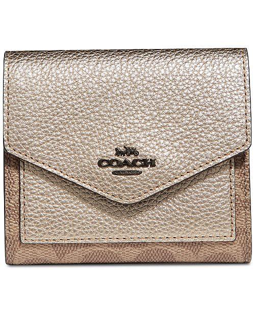 COACH Metallic Colorblock Coated Canvas Signature Wallet - Handbags ... bfd51ac0aae52