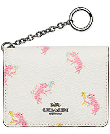 COACH Pig-Print Key Ring Card Case