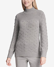 Calvin Klein Popcorn-Knit Mock Turtleneck Sweater