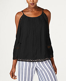 I.N.C. Crocheted Cold-Shoulder Peasant Top, Created for Macy's