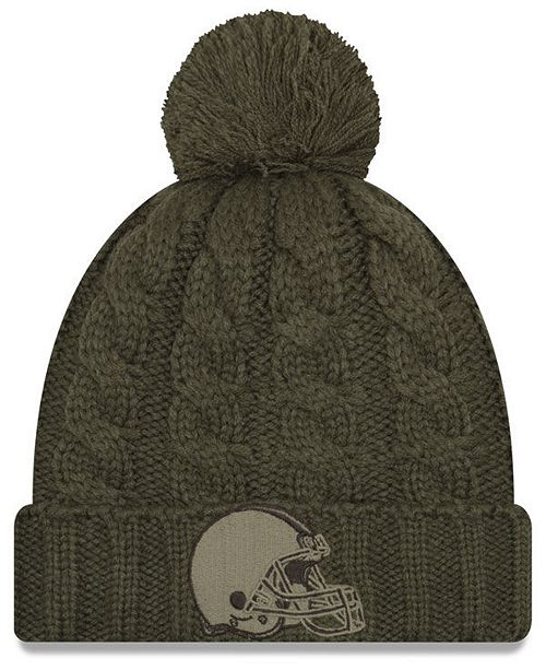 size 40 f62ce 137fb ... Hat  New Era Women s Cleveland Browns Salute To Service Pom Knit ...
