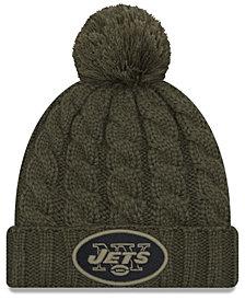 New Era Women's New York Jets Salute To Service Pom Knit Hat