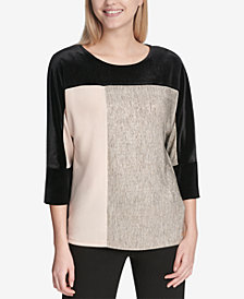 Calvin Klein Mixed-Media Colorblocked Top
