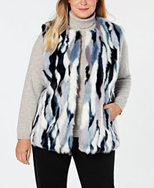 I.N.C. Plus Size Faux-Fur Multicolored Vest, Created for Macy's