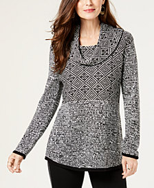 Style & Co Jacquard Cowl-Neck Sweater, Created for Macy's