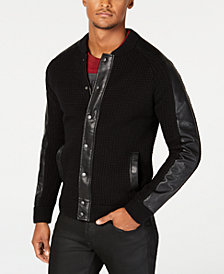 GUESS Men's Faux Leather-Trimmed Cardigan Sweater