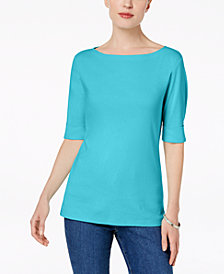Karen Scott Petite Elbow-Sleeve Top, Created for Macy's