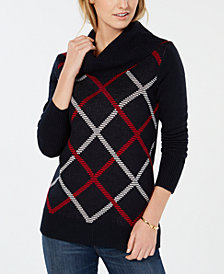 Tommy Hilfiger Diagonal Plaid Cowl-Neck Sweater, Created for Macy's