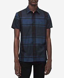Calvin Klein Men's Large Plaid Set-On Placket Shirt