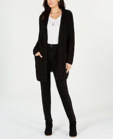 Style & Co Mixed-Stitch Tweed Duster Cardigan, Created for Macy's